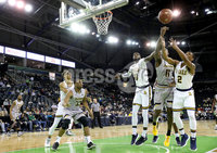 Press Eye - Belfast -  Northern Ireland - 01st December 2017 - Photo by William Cherry/Presseye. La Salle University\'s BJ Johnston and Amar Stukes with Towson College\'s Dennis Tunstall during Friday evenings Basketball Hall of Fame Belfast Classic game at the SSE Arena, Belfast.