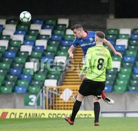 Danske Bank Premiership, Windsor Park, Belfast  3/11/2018. Linfield FC vs Warrenpoint Town. Linfield Andrew Waterworth and  Conall McGrandles   of Warrenpoint Town.. Mandatory Credit @INPHO/Brian Little.