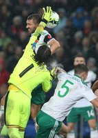 PressEye-Northern Ireland- 12th November  2017-Picture by Brian Little/ PressEye. Switzerland goal keeper Yann Sommer   and Northern Ireland  Gareth McAuley     during Sunday night\'s FIFA  World Cup play-off  second leg match at St Jacob Park, Basel.. Picture by Brian Little/PressEye