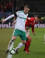 PressEye-Northern Ireland- 12th November  2017-Picture by Brian Little/ PressEye. Switzerland  Michael Lang  and Northern Ireland  Steven Davis    during Sunday night\'s FIFA  World Cup play-off  second leg match at St Jacob Park, Basel.. Picture by Brian Little/PressEye