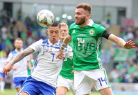 Press Eye Belfast - Northern Ireland 8th September 2018. UEFA Nations League 2019 Final Tournament at the National Stadium at Windsor Park.  Northern Ireland Vs Bosnia and Herzegovina. . Northern Ireland\'s Stuart Dallas with Bosnia and Herzegovina\'s Muhamed Besic.. Picture by Jonathan Porter/PressEye.com