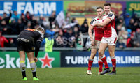 European Rugby Champions Cup Round 5, Kingspan Stadium, Belfast 13/1/2018. Ulster vs La Rochelle. Ulster\'s Jacob Stockdale and John Cooney celebrate at the final whistle . Mandatory Credit ©INPHO/Ryan Byrne