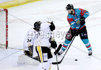 Press Eye - Belfast -  Northern Ireland - 13th January 2018 - Photo by William Cherry/Presseye. Belfast Giants Colin Shields with Nottingham Panthers Mike Garnett during Saturday nights Elite Ice Hockey League game at the SSE Arena, Belfast.