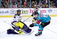 Press Eye - Belfast -  Northern Ireland - 11th February 2018 - Photo by William Cherry/Presseye. Belfast Giants Darcy Murphy with Manchester Storm\'s Mike Clemente during Sunday afternoons Elite Ice Hockey League game at the SSE Arena, Belfast.