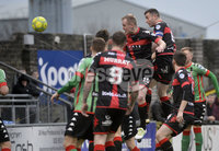 Danske Bank Premiership, Seaview Belfast.. 10/02/2018.  Crusaders v Glentoran. Crusaders Colin Coates rises highest to head his side into a 3-1 lead. Mandatory Credit ©INPHO/Stephen Hamilton.
