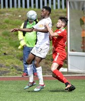Press Eye - Belfast - Northern Ireland -15th July. Photo by Stephen Hamilton  / Press Eye.. Pre season friendly match between Cliftonville and Swansea u23 at Solitude in Belfast.. Cliftonvilles Tomas Cosgrove  in action with Swansea\'s Jordan Garrick