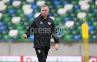 PressEye-Northern Ireland- 10th September  2018-Picture by Brian Little/ PressEye. Northern Ireland   Manager Michael O\'Neill    training ahead of Tuesday Friendly International Challenge match against Israel  at the National Football Stadium at Windsor Park.. Picture by Brian Little/PressEye .