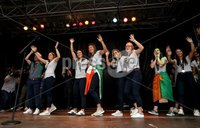 Irish Hockey Team Homecoming, Dublin 6/8/2018. The team takes to the stage. Mandatory Credit  ©INPHO/Tommy Dickson