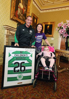 Press Eye - Belfast - Northern Ireland  - 13th July 2017 - . Celtic FC Manager Brendan Rodgers donates a shirt to the Northern Ireland Children\'s Hospice. . Mr Rodgers is pictured with Michelle and Aimee Neill .. Photo by Kelvin Boyes / Press Eye..