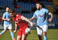 Tennent\'s Irish Cup Round 6, Windsor Park, Belfast 11/2/2019. Ballymena v Portadown. Ballymena\'s Steven McCullough  with Portadown\'s   Adam Salley. Mandatory Credit INPHO/Stephen Hamilton.