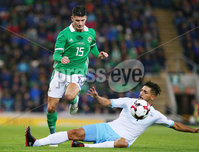 Press Eye Belfast - Northern Ireland 11th September 2018. International Challenge match at the National Stadium at Windsor Park in Belfast.  Northern Ireland Vs Israel. . Northern Ireland\'s Jordan Jones with Israel\'s Ayid Habshi. Picture by Jonathan Porter/PressEye.com