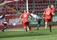 Press Eye Belfast - Northern Ireland 12th August 2017. Danske Bank Irish Premier league match between Cliftonville and Ards at Solitude Belfast.. Cliftonville\'s Jay Donnelly fires the side level at 1-1.  Photo by Stephen  Hamilton / Press Eye