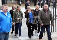 Press Eye © Belfast - Northern Ireland. Photo by Freddie Parkinson / Press Eye ©. Tuesday 10 October 2017. Laganside Crown Court. Family and friends of Mark Ward leaving Laganside Courts.. Detective Chief Inspector Eamonn Corrigan spoke to media after the tariff sentencing of Mark Ward (26) from Drumellan Gardens, Craigavon who was found guilty in June this year of murdering Marcell Seeley (34) in October 2015.