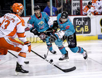 Press Eye - Belfast, Northern Ireland - 06th December 2019 - Photo by William Cherry/Presseye. Belfast Giants\' Liam Reddox with Sheffield Steelers\' Davey Phillips during Friday nights Elite Ice Hockey League game at the SSE Arena, Belfast.       Photo by William Cherry/Presseye