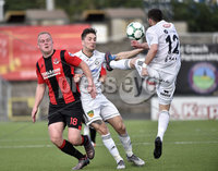 11th July 2019. Europa league First round qualifying match between Crusaders and B36 Torshavn at Seaview Belfast.. Crusaders Philip Lowry in action with Torshavns Alex Mellemgaard. Mandatory Credit / Stephen Hamilton/Inpho