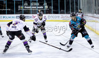 Press Eye - Belfast -  Northern Ireland - 03rd March 2019 - Photo by William Cherry/Presseye. Belfast Giants\' Jonathan Ferland with Manchester Storm\'s Felix-Antoine Poulin during Sunday afternoons Elite Ice Hockey League game at the SSE Arena, Belfast.