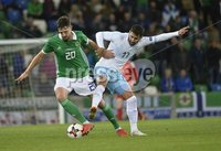 11th August 2018. International Friendly match between . Northern Ireland and Israel  at the national stadium in Belfast.. Northern Irelands Craig Cathcart  in action with Israels Dan Einbinder.  Mandatory Credit: Stephen Hamilton /Presseye