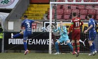 9th January 2021. Danske Bank Premiership, Solitude, Belfast . Cliftonville vs Crusaders. Crusaders Chris Hegarty slices the ball into his own net. Mandatory Credit INPHO/Stephen Hamilton