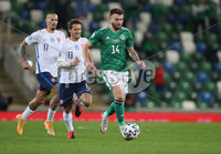 Press Eye-Belfast-Northern Ireland -12th November 2020. National Football Stadium at Windsor Park, Belfast. . 12/11/2020. Northern Ireland Stuart Dallas evades  Slovakia  Patrik Hrosovsky and Marek Hamsik      during Thursday  night\'s UEFA Euro 2020  Play-off Final  at the National Football Stadium at Windsor Park,Belfast.. Mandatory Credit PressEye