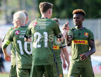 UEFA Europa League First Qualifying Round First Leg, Solitude, Belfast 12/7/2018. Cliftonville vs Nordsjaelland. Nordsjaelland Andreas Olsen celebrates after he scores to make it 0-1 with teammate Godsway Donyoh(right). Mandatory Credit ©INPHO/Jonathan Porter