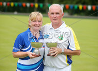 Press Eye Belfast - Northern Ireland 14th July 2017. Bangor Open Bowls Competition at Bangor Bowling Club. . Left to right.  Elaine Hastings from Ballywalter Bowling Club and her husband Robert from Bangor Bowling Club who won the Mixed Pairs competition. . Picture by Jonathan Porter/PressEye.com.