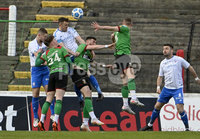 4th May 2021. Danske Bank Irish league,The Oval,Belfast.. Glentoran v Coleraine . Glentorans Caolamn Marron  in action with Coleraines  Stephen ODonnell. Mandatory Credit Inpho/Stephen Hamilton