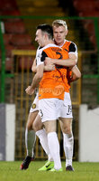 BetMcLean League Cup Round 3, The Oval, Belfast 10/10/2017. Glentoran vs Carrick Rangers. Carrick Rangers\' goal scorer Mark Edgar celebrates with Andrew Mooney. Mandatory Credit ©INPHO/Matt Mackey
