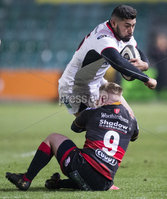 Guinness PRO14, Rodney Parade, Newport, Wales 1/12/2017. Dragons vs Ulster. Ulster\'s Charles Piutau is tackled by Dragons\' Dan Babos. Mandatory Credit ©INPHO/Bob Bradford