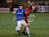 Danske Bank Premiership at Solitude, Belfast.  13.01.2020. Cliftonville FC vs Linfield FC. Cliftonvilles Chris Curran with Linfields Stephen Fallon. Mandatory Credit INPHO/Jonathan Porter