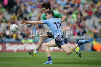 GAA Football All Ireland Senior Championship Quarter-Final, Croke Park, Dublin 2/8/2015. Dublin vs Fermanagh. Dublin\'s Diarmuid Connolly with Marty O'Brien of Fermanagh. Mandatory Credit ©INPHO/Morgan Treacy