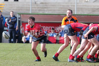 Press Eye Belfast - Northern Ireland 14th March 2019. Danske Bank U16High Schools Trophy Final. Craigavon High School(red) Vs Ballyclare Secondary School. . Craigavon\'s matthew orr passes back the ball. . Picture by Jonathan Porter/PressEye.com
