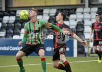 Danske Bank Premiership, Seaview Belfast.. Co Antrim 02/12/17. Crusaders v Glentoran. Mandatory Credit ©INPHO/Stephen Hamilton. Crusaders Paul Heatley  in action with Glentorans Daniel Kelly