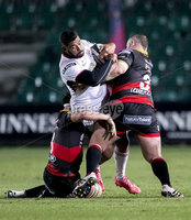 Guinness PRO14, Rodney Parade, Newport, Wales 1/12/2017. Dragons vs Ulster. Ulster\'s Charles Piutau is tackled by Dragons\' Lloyd Fairbrother. Mandatory Credit ©INPHO/Bob Bradford