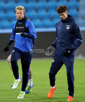 Press Eye - Belfast -  Northern Ireland - 07th October 2017 - Photo by William Cherry/Presseye. Northern Ireland\'s Adam Thompson and Tom Flannagan during Saturdays nights training session at the Ullevaal Stadion, Oslo ahead of Sundays World Cup Qualifier against Norway.   Photo by William Cherry/Presseye
