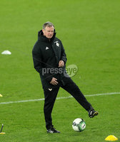 Press Eye - Belfast -  Northern Ireland - 11th November 2017 - Photo by William Cherry/Presseye. Northern Ireland manager Michael O\'Neill during Saturday nights training session at St. Jakob-Park ahead of Sunday nights World Cup Play Off against Switzerland in Basel.