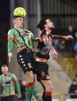 Danske Bank Premiership, Seaview Belfast.. Co Antrim 02/12/17. Crusaders v Glentoran. Mandatory Credit ©INPHO/Stephen Hamilton. Crusaders Declan Caddell  in action with Glentorans Marcus Kane .