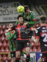 Danske Bank Premiership, Seaview Belfast.. Co Antrim 02/12/17. Crusaders v Glentoran. Mandatory Credit ©INPHO/Stephen Hamilton. Crusaders HowardbBeverland  in action with Glentorans Daniel Kelly.