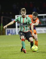 . Danske Bank Premiership,The Oval Belfast 14/11/2017. Glentoran v Glenavon. Mandatory Credit ©INPHO/Stephen Hamilton. Glentorans Robbie McDaid  in action with Glenavons Simon Kelly