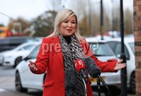 Press Eye - Belfast - Northern Ireland - 20th November  2020. Sinn Feins joint First Minister Michelle ONeill speaks to the press in Coalisland, Co. Tyrone.  . The new restrictions will cover two weeks from November 27 and the current restrictions will . remain in place until then.. Picture by Press Eye
