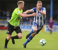 Danske Bank Premiership, Showgrounds, Coleraine 4/8/2018. Coleraine vs Warrenpoint. Coleraine\'s Darren McCauley and Warrenpoint\'s Anto Reilly. Mandatory Credit ©INPHO/Lorcan Doherty