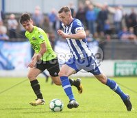 Danske Bank Premiership, Showgrounds, Coleraine 4/8/2018. Coleraine vs Warrenpoint. Coleraine\'s Darren McCauley and Warrenpoint\'s Deane Watters. Mandatory Credit ©INPHO/Lorcan Doherty