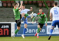 4th May 2021. Danske Bank Irish league,The Oval,Belfast.. Glentoran v Coleraine . Glentorans Andy Mitchell   in action with Coleraines  Steven Lowry . Mandatory Credit Inpho/Stephen Hamilton
