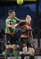 Danske Bank Premiership, Seaview Belfast.. Co Antrim 02/12/17. Crusaders v Glentoran. Mandatory Credit ©INPHO/Stephen Hamilton. Crusaders Jordan Owens  in action with Glentorans Calum Birney.