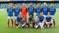 UEFA Europa League- Qualifying Third Round-2nd Leg, Windsor Park, Belfast  12/8/2019. Linfield FC vs FK FK Sutjeska. Linfield\'s  team against  FK Sutjeska.. Mandatory Credit  INPHO/Brian Little