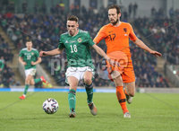 PressEye-Northern Ireland- 16th November 2019-Picture by Brian Little/PressEye. Northern Ireland Gavin Whyte   and Netherlands Daley Blind  during Saturday\'s EURO 2020 Qualifier at the National Football Stadium at Windsor Park.. Picture by Brian Little/PressEye