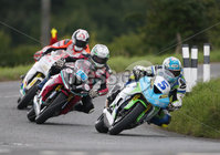 PressEye-Northern Ireland- 9th August 2018-Picture by Brian Little/ Double Red. Ulster Grand Prix. Dean Harrison Silcone Engineering Racing Kawasaki leads Adam McLean 600cc Kawasaki and Conor Cummins Padgetts Motorcycles Honda during Lisburn & Castlereagh City Council 600 Supersport Race around the Dundrod 7.4 mile circuit. . Picture by Brian Little/Double Red