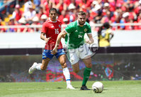 Press Eye - Belfast -  Northern Ireland - 03rd June 2018 - Photo by William Cherry/Presseye. Costa Rica\'s Cristian Gamboa with Northern Ireland\'s Stuart Dallas during Sunday mornings International Friendly at the Nuevo Estadio Nacional de Costa Rica in San Jose.   Photo by William Cherry/Presseye