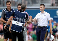 2018 Dubai Duty Free Irish Open, Ballyliffin Golf Club, Co. Donegal 8/7/2018. Ryan Fox\'s Caddie congratulates Russell Knox on his win. Mandatory Credit ©INPHO/Oisin Keniry