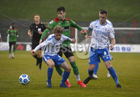 4th May 2021. Danske Bank Irish league,The Oval,Belfast.. Glentoran v Coleraine . Glentorans Jay Donnelly   in action with Coleraines  Lyndon Kane . Mandatory Credit Inpho/Stephen Hamilton