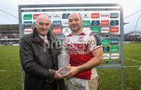 European Rugby Champions Cup Round 5, Kingspan Stadium, Belfast 13/1/2018. Ulster vs La Rochelle. Ulster\'s Rory Best is presented with the man of the match award by Pat Maher of Heineken . Mandatory Credit ©INPHO/Ryan Byrne